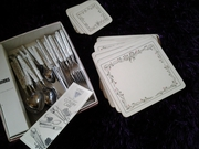 Cutlery set,  placemat and coaster set