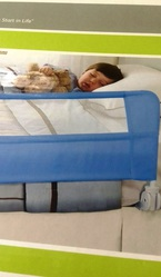 Lindham Safety Toddler Childrens Bed Guard Rail in Blue and White